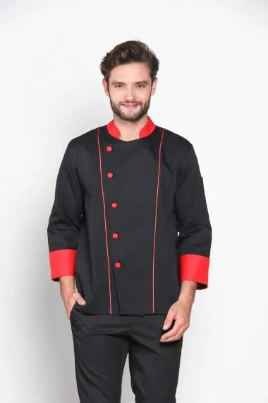 Chef Series Ruby Series Tangan Panjang Baju Koki - Hitam [Size S]
