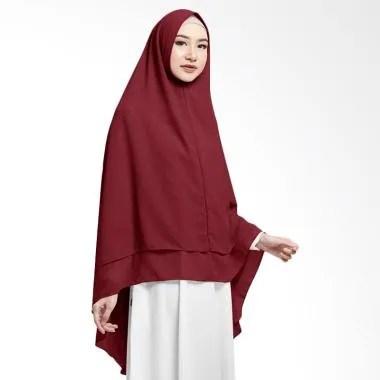 Cotton Bee Hijab Khimar Zahwa Kerudung Instan Syar'i - Red Maroon