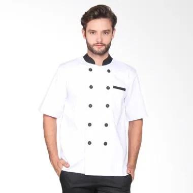 Chef Series Silver Series Tangan Pendek Baju Koki - Putih [Size L]