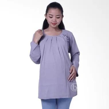 Mama Hamil BLJ 418 Cantika Blouse Baju Hamil Lengan Panjang - Abu