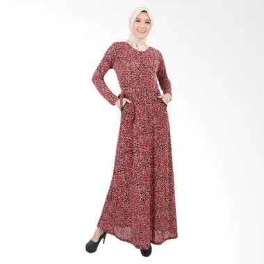 Jfashion Long Dress Gamis Maxi Variasi Seleting Depan - Shavana Merah