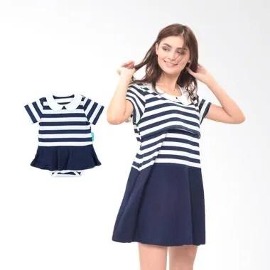 Mooimom Girl Dress Set Baju Couple Hamil Menyusui & Anak - Navy