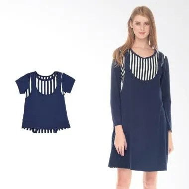 Mooimom Girl Straight Stripe Sling  ... il Menyusui & Anak - Navy
