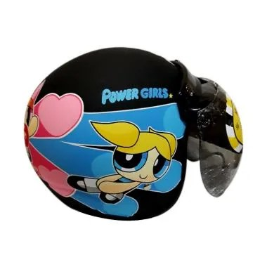 JP Helmet Retro Kids Powerpuff Girls Helm Anak - Black Doff