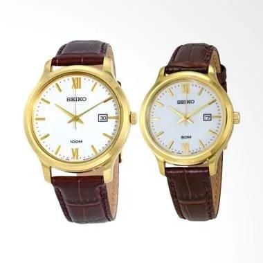 Seiko Classic Jam Tangan Couple - Gold Brown [SUR226P1/ SUR702P1]