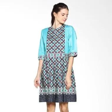 Fafa Collection Deasy 001 Dress Batik Wanita Pendek - Light Tosca