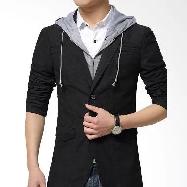 Gudang Fashion Katun Kombinasi Kaos BLZ 693 Blazer Korea Pria - Black