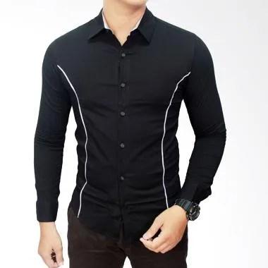Gudang Fashion Slimfit Model Korea LNG 1058 Black Kemeja Pria