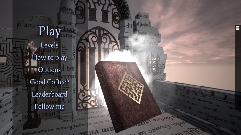 The Book Of Mazes menu screen
