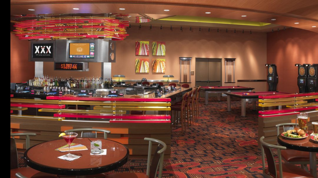 a photo of the bar at the bowling center