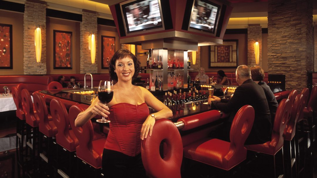 a photo of a woman in a red corset holding a glass of wine