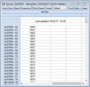 dateid hasil import data panel dari excel ke eviews