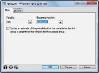 Wilcoxon Rank Sum Test STATA
