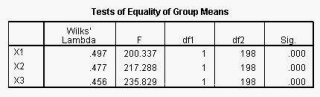 Analisis Diskriminan SPSS Test Equality