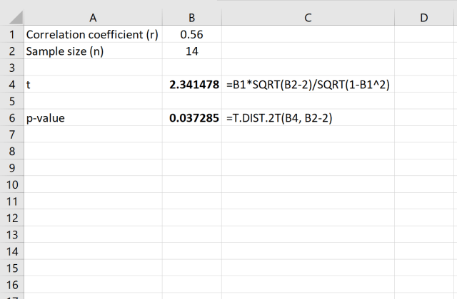 How to Find the P-value for a Correlation Coefficient in Excel