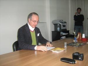 Il candidato del centrodestra Stefano Pecorella alla conferenza stampa di stamane