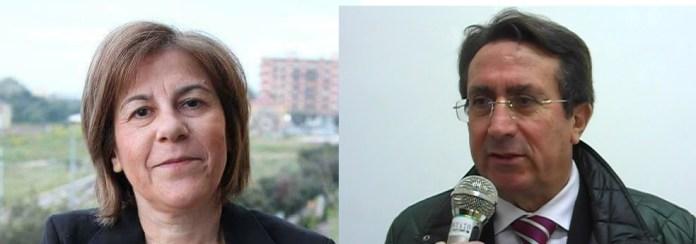 da sinistra: la segretaria cittadina del PD Michela Quitadamo e Franco Ognissanti, presidente della Gestione Tributi SpA (combo image sq)