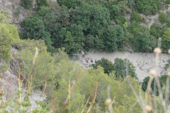 Rescue in the Gorge of Raganello where the flood of a torrent caused eight victims, in Civita, southern Italy, 20 August 2018. According to the national civil protection organization, at least eight people died in the waves of the Raganello in Civita stream. Another 18 people have been identified while the recovery operations are continued by firefighters and mountain rescue service.