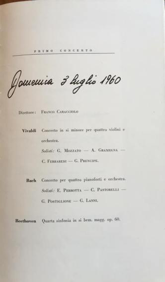 Luglio 1960-Concerto del M° prof. Giuseppe Prencipe