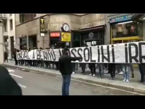 Milano, striscione shock dei tifosi laziali vicino a piazzale Loreto