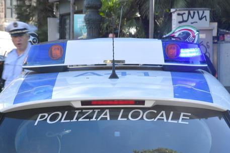 Un mezzo della Polizia Municipale di Genova. 26 luglio 2017 a Genova.