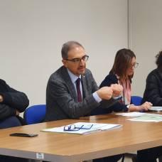 Un momento della conferenza stampa di stamani a Foggia, Sanitaservice Asl. Ph Enzo Maizzi, 13.12.2019