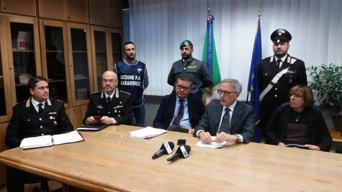 UN MOMENTO DELLA CONFERENZA STAMPA DI STAMANI IN PROCURA A FOGGIA (PH ENZO MAIZZI, 19.12.2019)