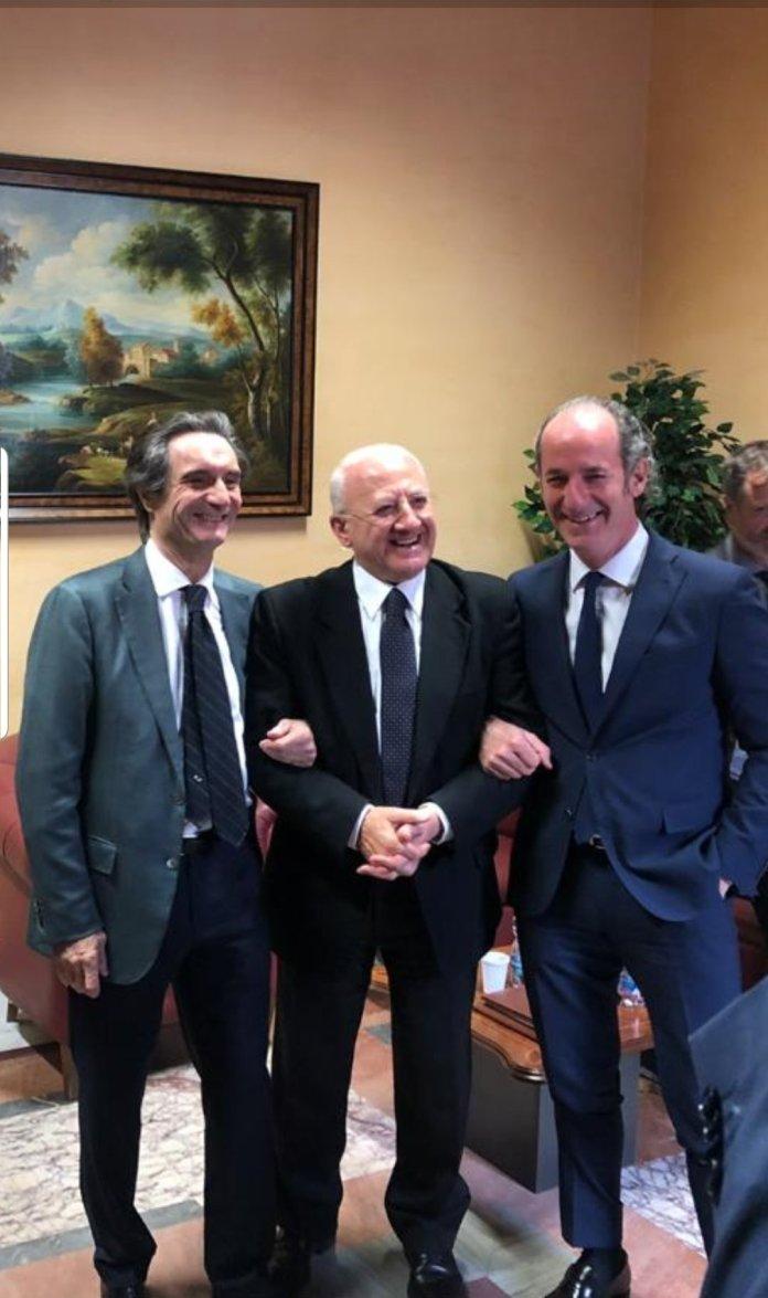 Attilio Fontana, Vincenzo De Luca e Luca Zaia (Twitter) - from corrieredelveneto