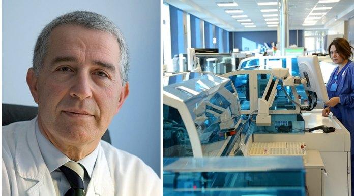 Lazzaro di Mauro, direttore dell'Unità di Laboratorio Analisi e Medicina Trasfusionale, e il laboratorio automatizzato di 34 metri, composto da 11 macchine in linea, inaugurato nel dicembre del 2015