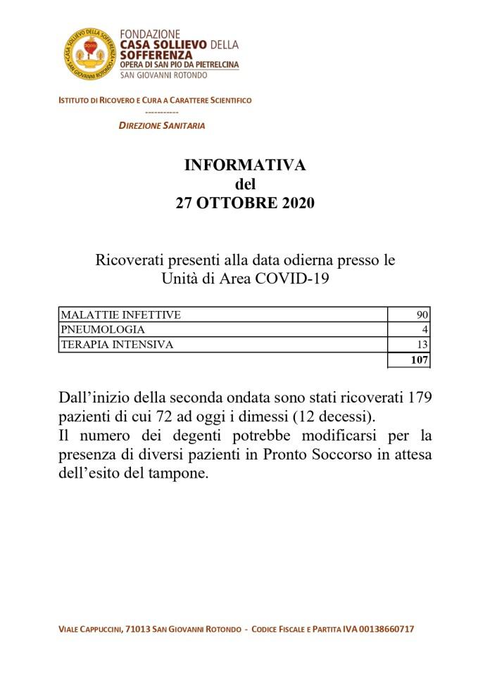 San Giovanni Rotondo, 27/10/2020 - COVID_19: informativa del 27 ottobre 2020 di Casa Sollievo della Sofferenza di San Giovanni Rotondo.