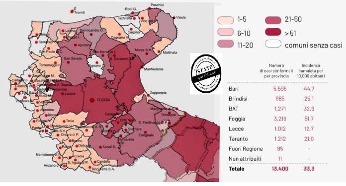 MAPPA COVID_19, PROVINCIA DI FOGGIA. 23.10.2020