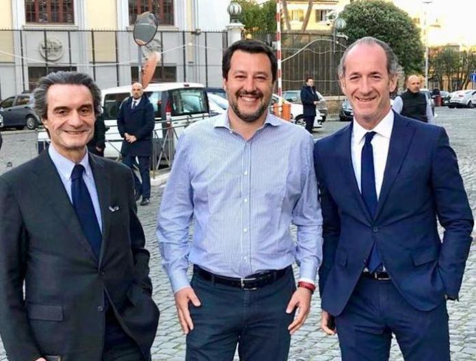 Matteo Salvini, Luca Zaia, e Attilio Fontana (ph ANSA)