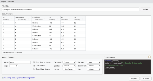 Import window in RStudio