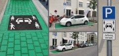 Mehrere Fotos von einem Parkplatz, der grün gestrichen ist und das Verkehrszeichen für Carsharing aufgemalt hat, dem Parkplatz mit einem Stattauto-Fahrzeug und dem Verkehrsschild für den Parkplatz.