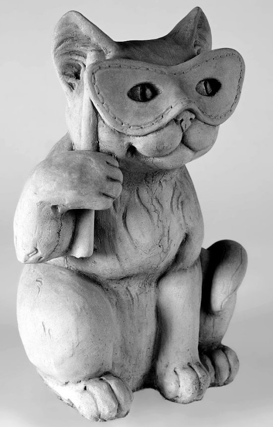 Cat With Mask Halloween Sculpture