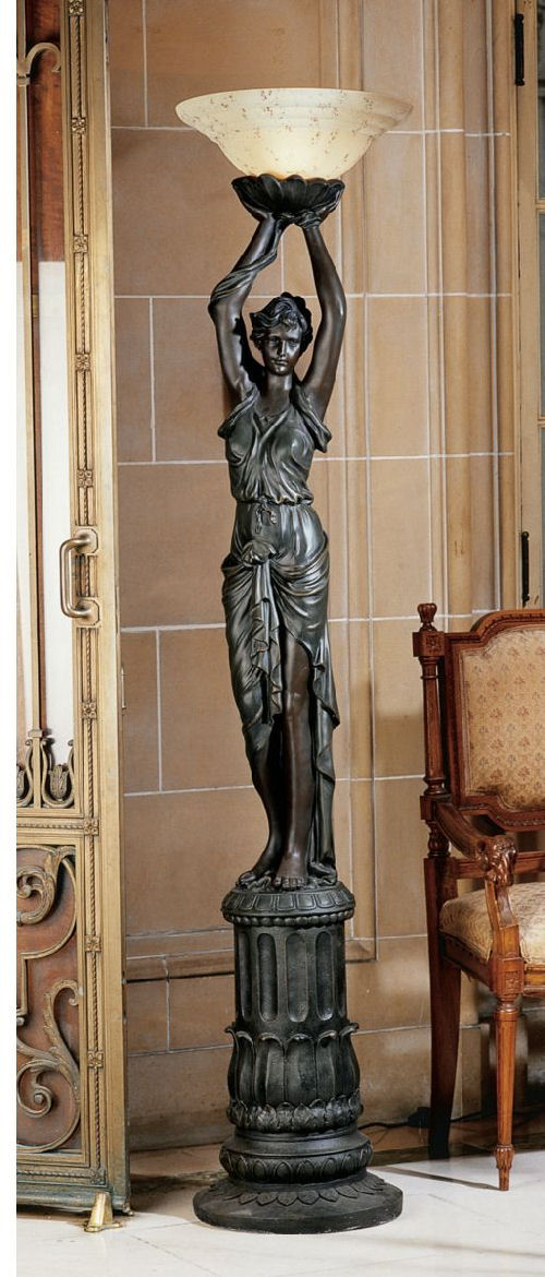 Empire-Style Woman Torchiere Lamp Sculpture