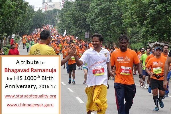 A tribute to Bhagavad Ramanuja-Couple of volunteers participated in half Marathon
