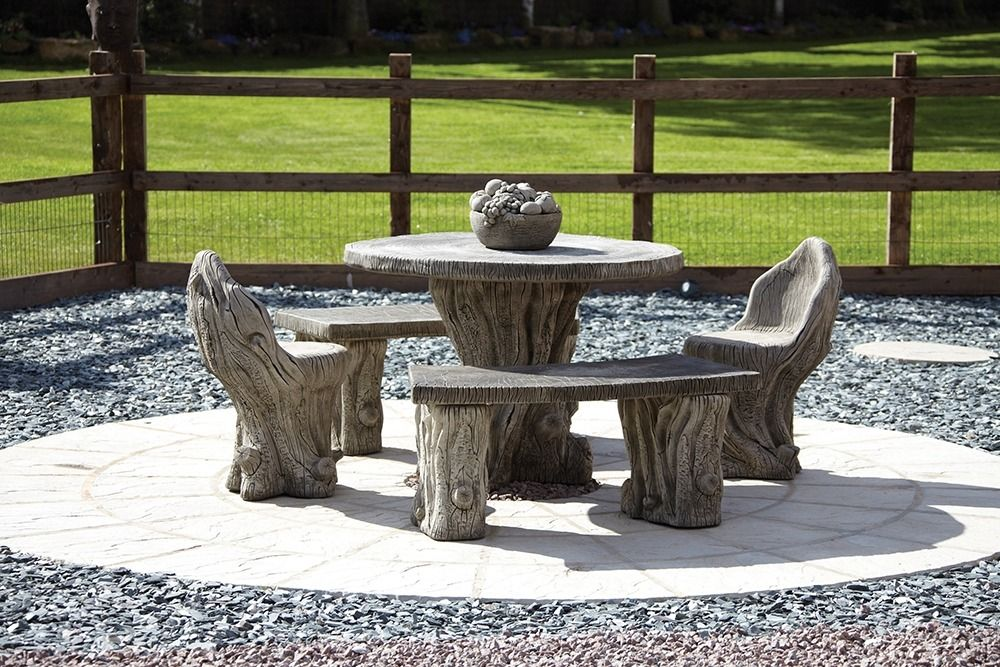 woodlands stone benches table patio set garden furniture