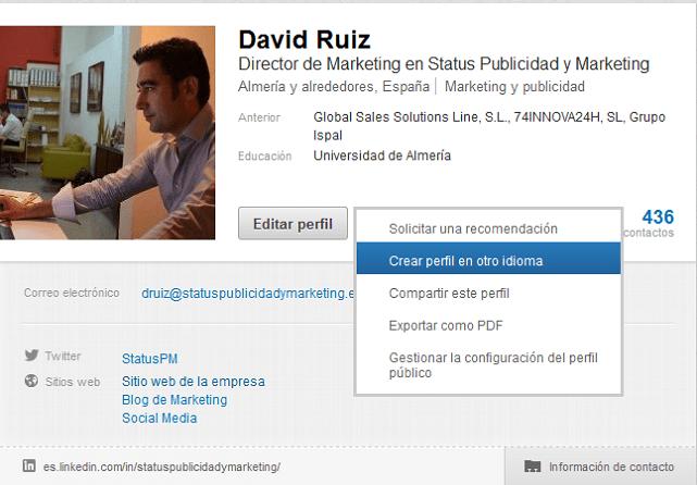 Crear perfil LinkedIn en otro idioma
