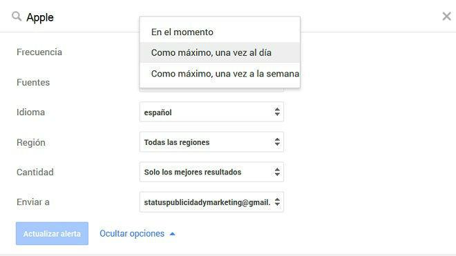 Cómo se modifica una alerta en Me on the web