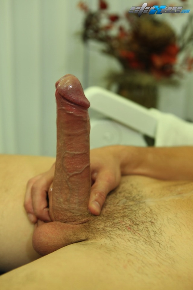Kevin Arbor wanks his uncut cock and pumps out a cum load on video (4)