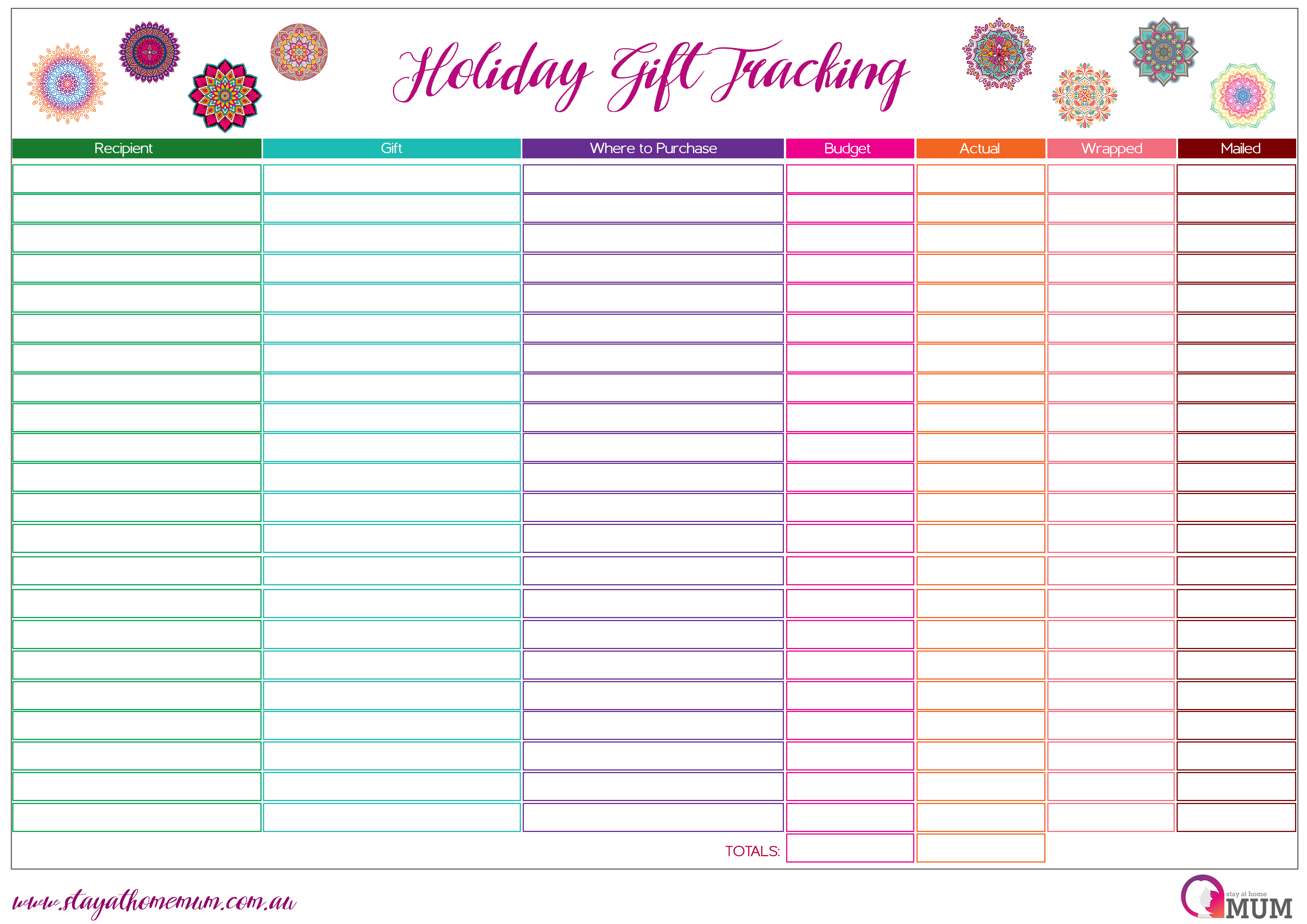 Holiday T Tracking Spreadsheet