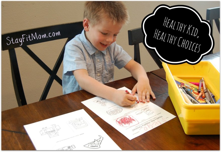 """My kid loved playing the Healthy Kid, Healthy choices """"game"""".  Love this free worksheet printable from Stayfitmom.com"""