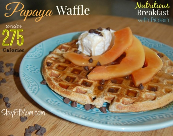 Papaya Waffle recipe using Carnation Breakfast Essentials... a great breakfast option that is nutritious and loaded with protein.