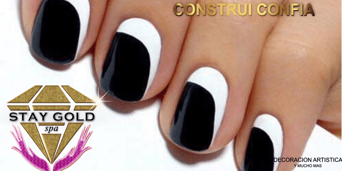 black & white shadow nails uñas esmaltadas blanco y negro