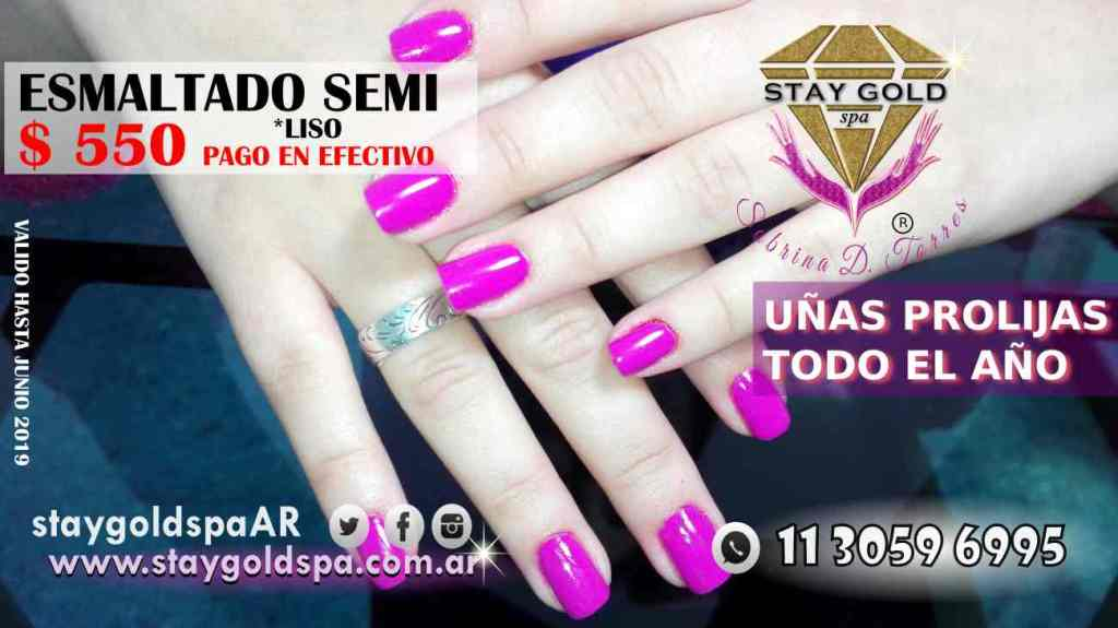 esmaltado express semipermanente liso promo Stay Gold Spa AR