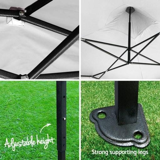 Outdoor Gazebo Instahut 3x3 Pop Up Marquee White Adjustable Height