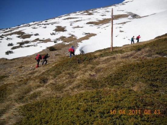 Markacija na grebenu prema vrhu