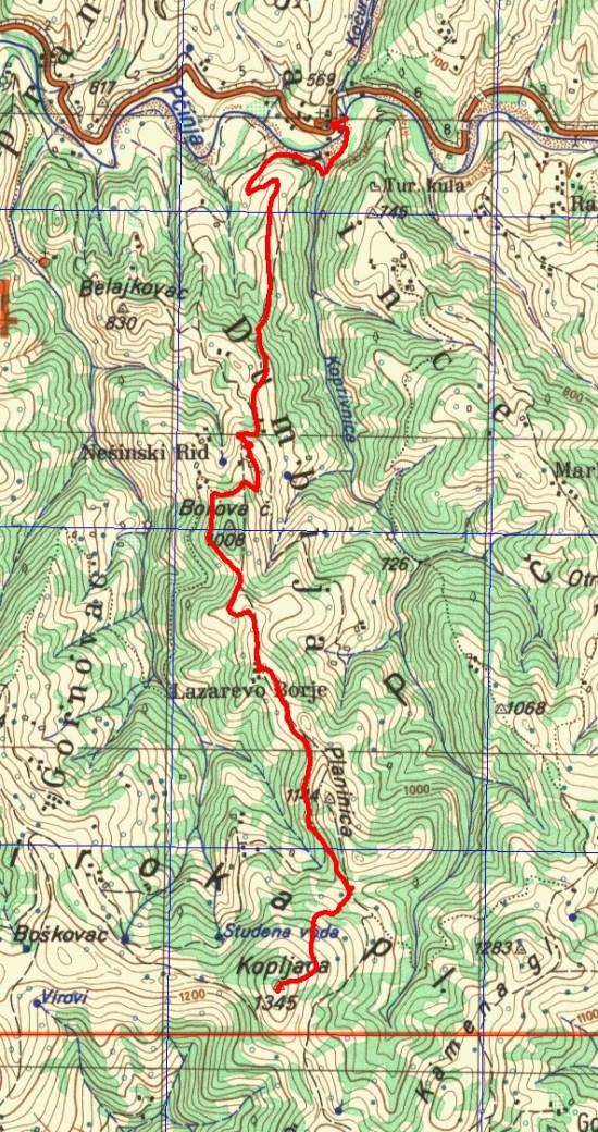 Šajince-Kopljača_mapa 1:50 000