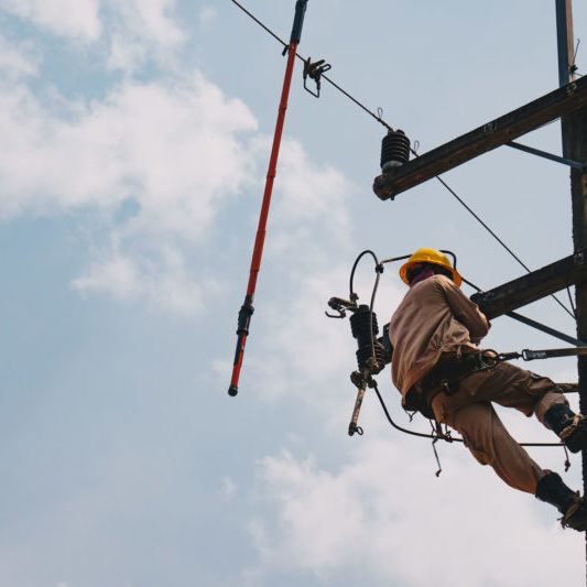 The power lineman uses insutated tool to open the connection of the transformer from the high voltage distribution system. To change the surge arrester that protects the transformer from overcurrent caused by lightning.